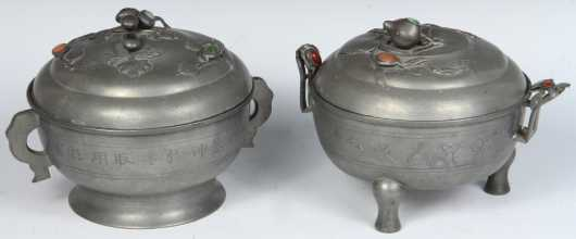 Similar Pair of Chinese Pewter Covered Hot Water Bowls