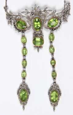 Diamond and Peridot Lavaliere Necklace
