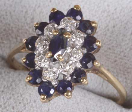 Dark Blue Sapphire and Diamond Cluster Ring