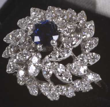 Diamond and Blue Sapphire Cluster Ring