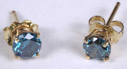 Pair of Blue Diamond Ear Studs