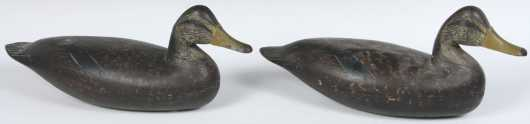 Pair of Hollow Body Mallard Hen Decoys