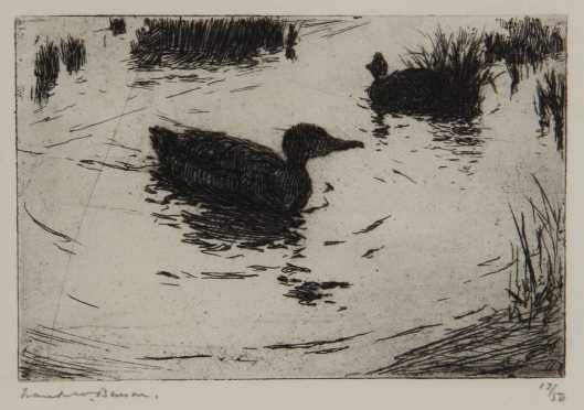 "Frank W. Benson,  etching ""Ducks and Ripples"""