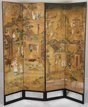 Chinese Four Panel Painted Screen