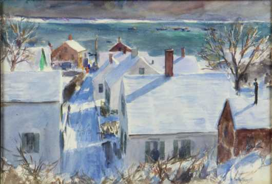 John Whorf watercolor painting of a view in Provincetown
