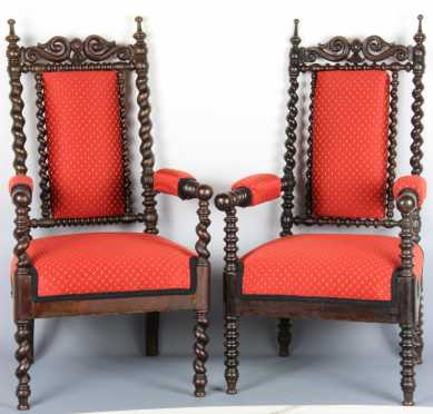 Two Walnut Gothic Form Arm Chairs
