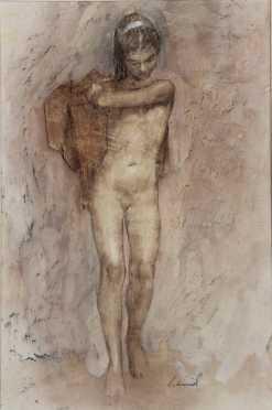 Richard Alan Schmid, acrylic on panel of a standing nude