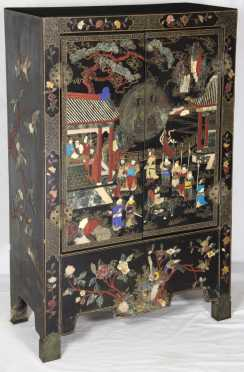 Chinese lacquer decorated cabinet inlaid with jade, ivory  lapis, cinnabar and other stones
