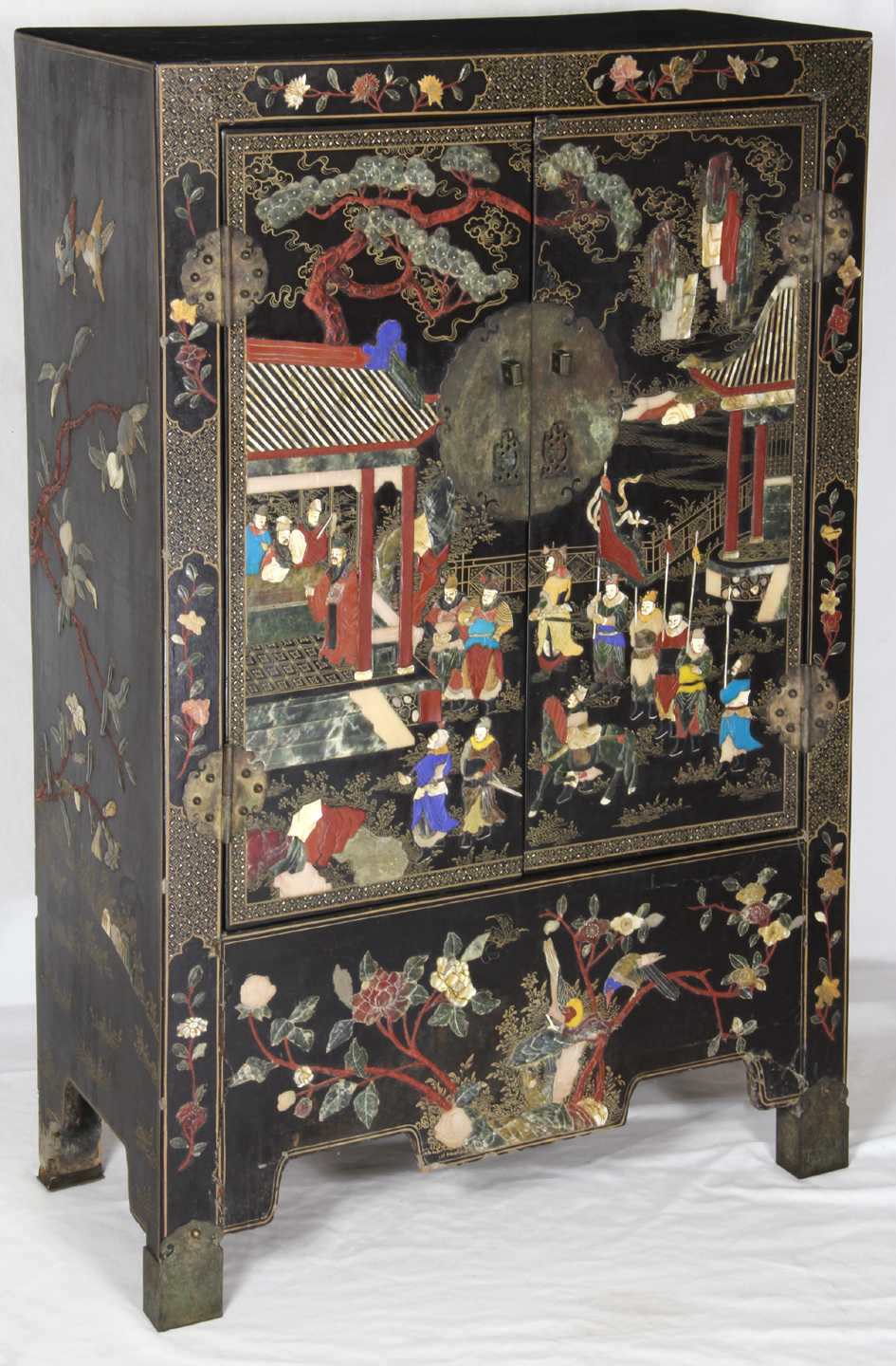 Chinese Lacquer Decorated Cabinet Inlaid With Jade Ivory Lapis Cinnabar And Other Stones