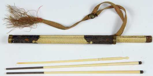 Ivory and Ray Skin Chop Sticks and Case
