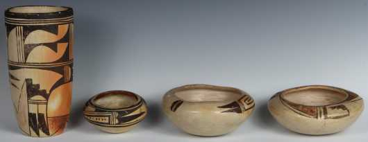 Lot of Four Pieces of Native American Pottery