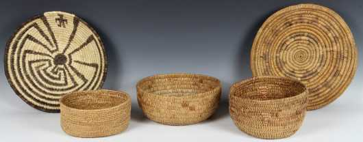Lot of Five Native American Made Coiled Rush Baskets