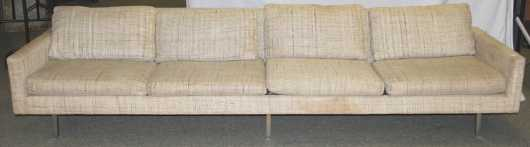 "Milo Baughman 1960's era designed sofa with chromed steel legs. Produced by ""Thayer Coggin"""