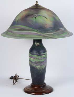 """Pairpoint """"Seagull"""" Pattern Artist signed Table Lamp"""
