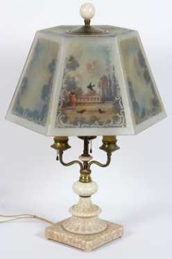 Unsigned Lamp With Textured Milk Glass Base