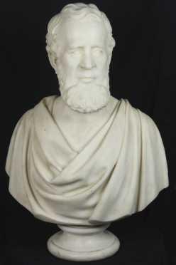 Preston Powers,  marble bust of a gentleman