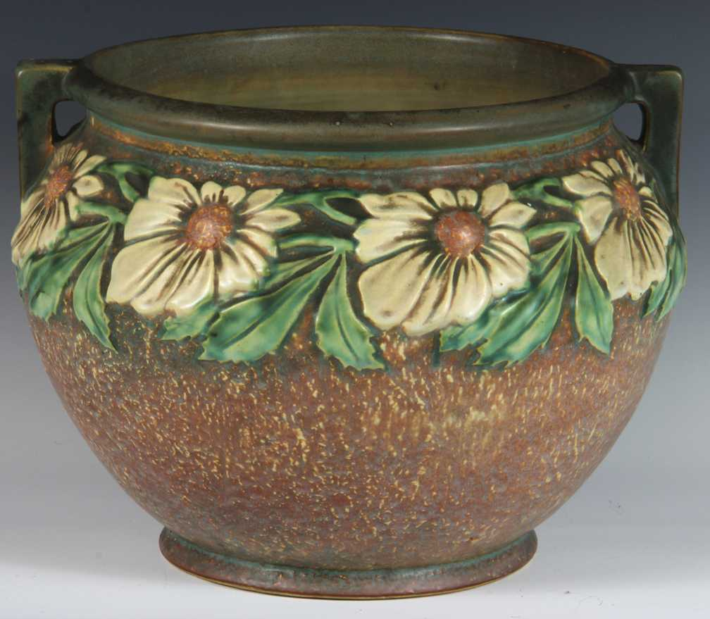 Roseville pottery dahlrose pattern jardinire for Pottery patterns