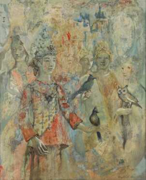 Elizabeth Duquette,  oil on Masonite of Oriental figures