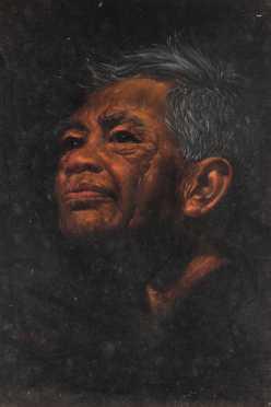 Edgar Leeteg, oil on velvet, portrait of an Indonesian man