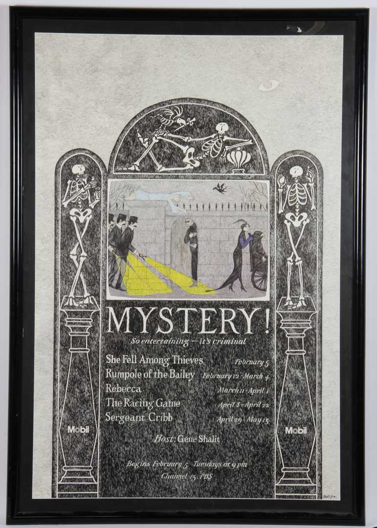 """Mystery!"""" Theatre Poster by Edward Gorey for the PBS television series"""