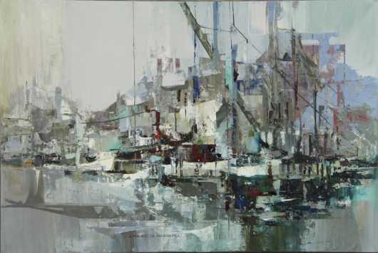 "John Thurston Marshall, oil on canvas abstract of ""Gray Harbor"""