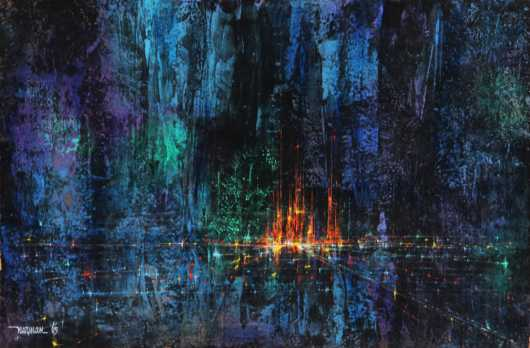 Leonardo M. Nierman,  oil on board abstract
