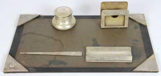 Five Piece Desk Set,  sterling on bronze