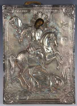 Greek Icon of St. George Slaying the Dragon