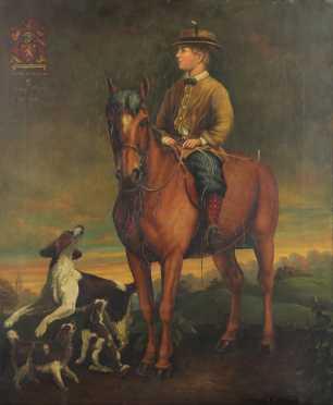 "Thomas Jones Barker,  oil on canvas portrait of ""Eames of Brigand"""