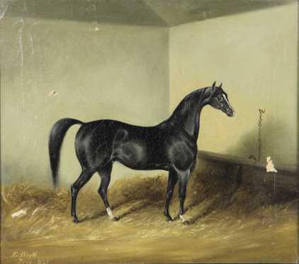 E. Blythe,  oil on canvas of a black race horse