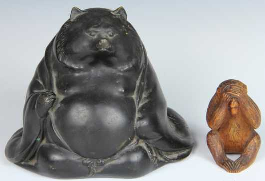 Bronze Figure of a Bear with a Wooden Carved Monkey