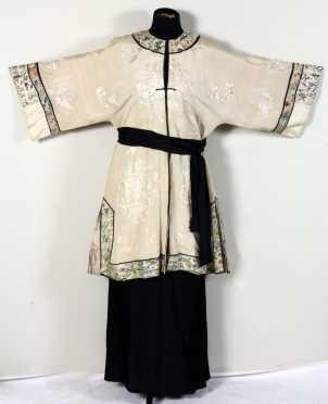 Chinese Silk Robe With Skirt and Sash