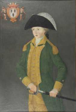 """Portrait  Of A Boy, noted at the upper left, a coat of arms, """"M, Armon Joseph Chy D'hugonneau"""""""