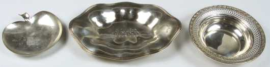 Three Miscellaneous Sterling Marked Candy Dishes
