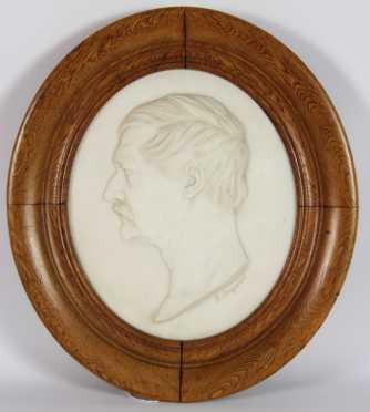 J. Lempereur, white marble plaque of a Gentleman