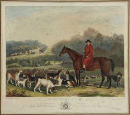 "English Hunt Print of ""Mr. John Carleton, and his Fox Hounds"""