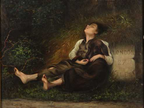 Oil On Board Painting Of A Young Boy And His Dog Asleep By