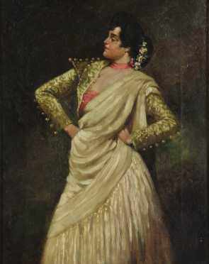 """Domenico Morelli oil on canvas portrait of """"Elma Calve in Carmen"""""""