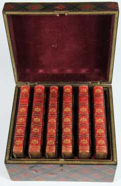 "Tartan Ware Box, with 5 volumes by ""Scott"""