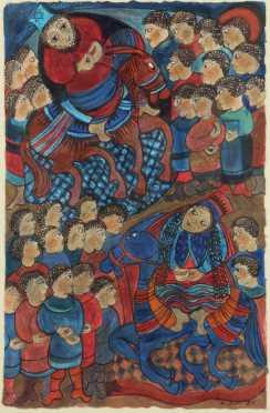 "Nalini Jayasuriya, mixed media on cloth of ""Solomon and the Queen of Sheba"""