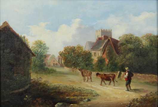 William Huggins,  oil on canvas landscape