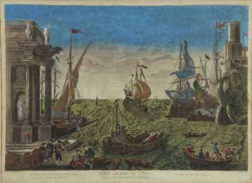 Colored Engraving After Gellee Claude de Lorrain
