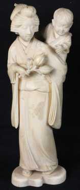 Japanese Carved Ivory Female Figure