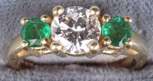 Yellow Gold Ladies Diamond And Emerald Ring