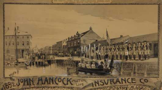 Charles George Copeland, watercolor on paper of Boston, Mass 1774 colonial scene