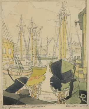 """Coulton Waugh, titled lower left, """"Late afternoon -Gloucester Harbor"""""""