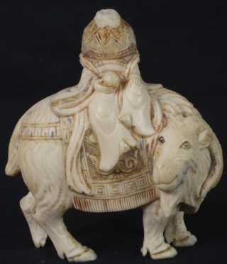 Mongolian Carved Ivory Snuff Figure Riding a Yak