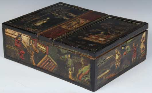 Chinese Carved Chinoiserie Decorated Box