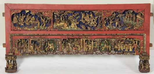 Chinese Carved and Painted Furniture Fragment