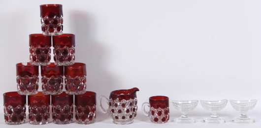 Fifteen Pieces Of Pressed Glass
